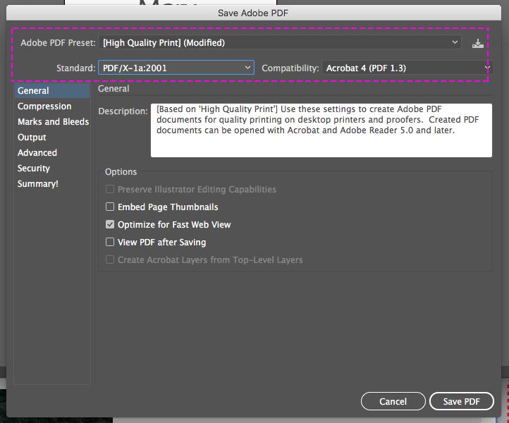 How to generate a PDF / X-1A file in Illustrator   Printi